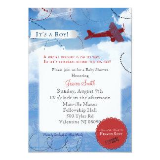 飛行機のベビーシャワーの招待状 カード