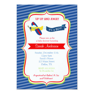 飛行機のベビーシャワー招待状 カード
