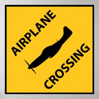 飛行機の交差の印 ポスター