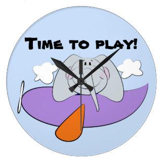 飛行機の子供の象 ラージ壁時計