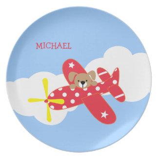 飛行機の小犬の子供 プレート