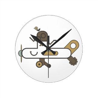 飛行機の時計2 ラウンド壁時計