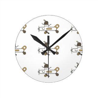 飛行機の時計 ラウンド壁時計