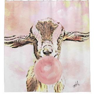 飛行機の耳のヤギはBubblegumの泡を吹きます シャワーカーテン