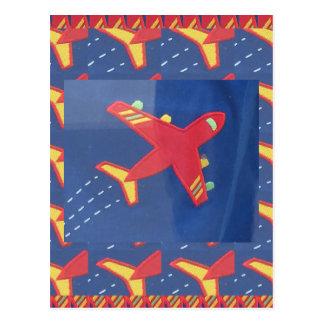 飛行機の航空機飛行旅行ピクニック休日 ポストカード