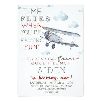 飛行機の誕生日のパーティの招待状 カード