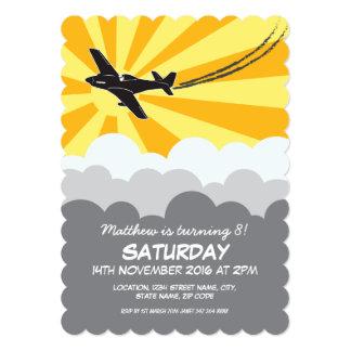 飛行機のSunraysの雲の習慣の子供の誕生日 カード