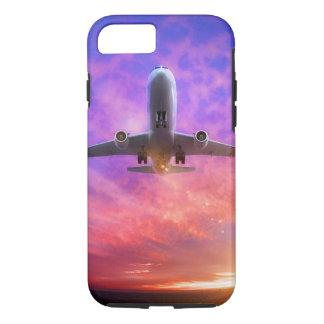 飛行機は飛んでいるな日没を離陸します iPhone 8/7ケース