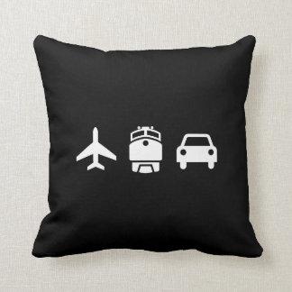 飛行機または列車または自動車ピクトグラムの装飾用クッション クッション