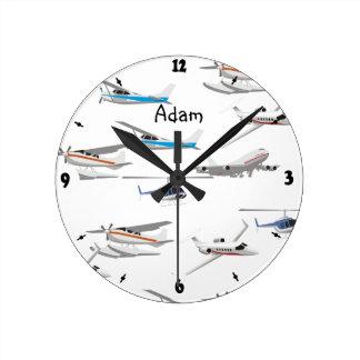 飛行機を平にします ラウンド壁時計