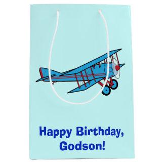 飛行機を持つハッピーバースデーのGodson ミディアムペーパーバッグ