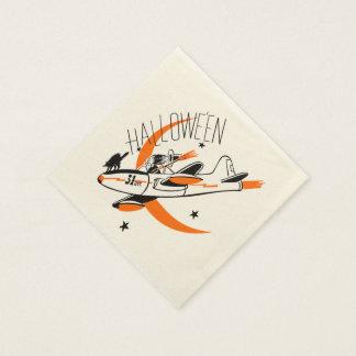 飛行機を飛ばしているヴィンテージのハロウィンの魔法使い スタンダードカクテルナプキン