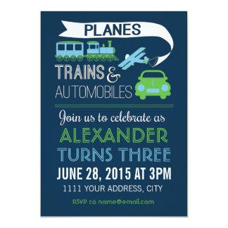 飛行機、列車及び自動車招待状 カード