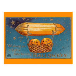 飛行船のハロウィンの郵便はがき ポストカード