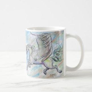 飛行飛んだユニコーンのマグ コーヒーマグカップ