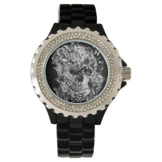 飛行、花の鳥のスカル 腕時計