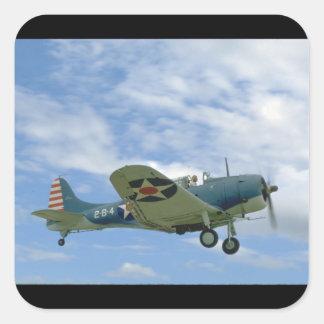 、飛行Dauntless、ダグラスSBD Side_WWIIの飛行機 スクエアシール