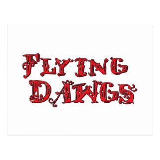 飛行Dawgsによって積み重ねられるロゴの赤 ポストカード