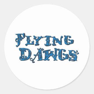 飛行Dawgsによって積み重ねられるロゴの青 ラウンドシール