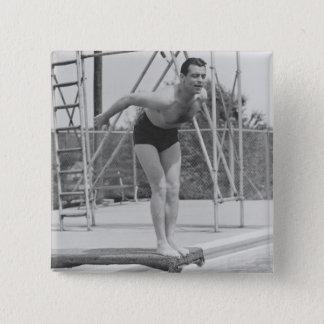飛込台の人 5.1CM 正方形バッジ