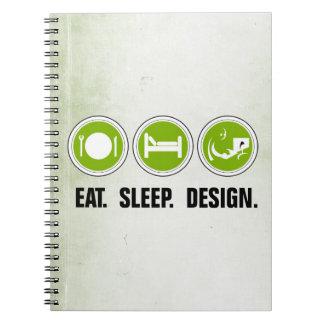 食べて下さい睡眠のデザイン(緑)を ノートブック