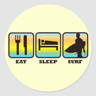 食べて下さい、眠らせて下さい、サーフして下さい ラウンドシール