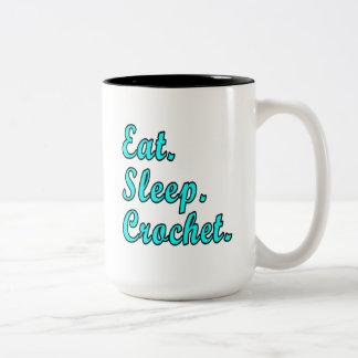 食べて下さい。 睡眠。 かぎ針編み ツートーンマグカップ