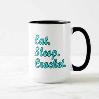 食べて下さい。 睡眠。 かぎ針編み マグカップ