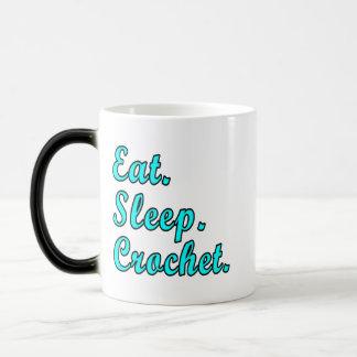 食べて下さい。 睡眠。 かぎ針編み マジックマグカップ