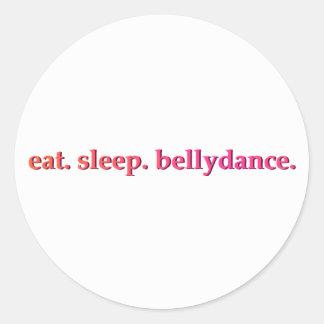 """""""食べて下さい。 睡眠。 Bellydance""""。 ステッカー(白い) ラウンドシール"""
