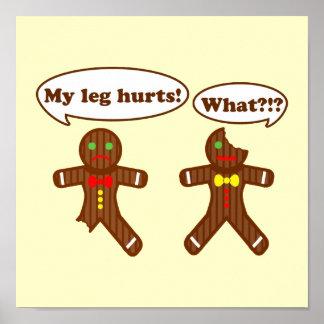 食べ物のジンジャーブレッドのユーモア ポスター