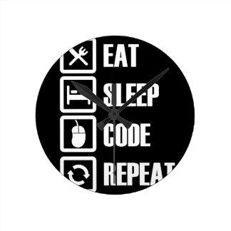 -食べ睡眠コード繰り返し ラウンド壁時計