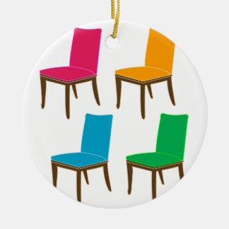 食事の椅子のグラフィック セラミックオーナメント