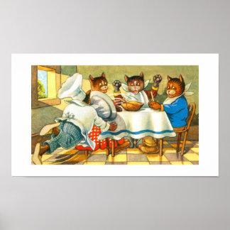 食事をしている猫 ポスター
