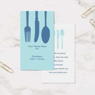 食事用器具類のカフェの名刺(淡いブルーの) 名刺
