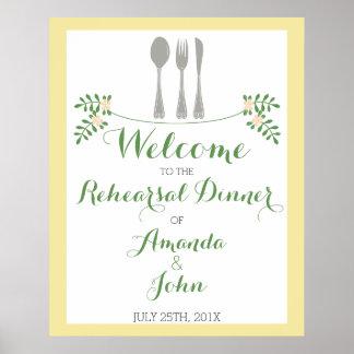 食事用器具類のリハーサルの夕食の歓迎ポスター ポスター