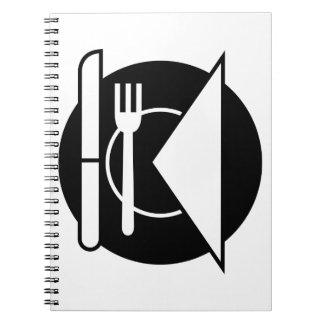 食器セットの螺線形ノート ノートブック