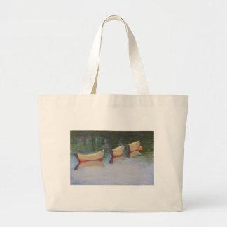 食料雑貨の戦闘状況表示板のSlacktideの小舟 ラージトートバッグ