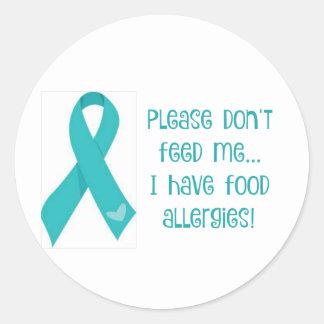 """食物アレルギーのステッカーは""""食べ物を与えません私を"""" ラウンドシール"""
