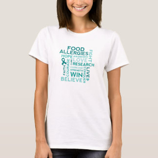 食物アレルギーのティール(緑がかった色)のリボン Tシャツ