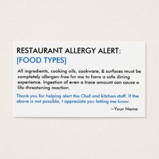 食物アレルギーのレストラン及び氷カード 名刺