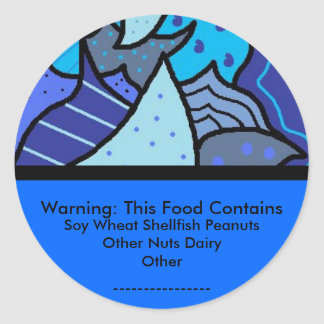 食物アレルギーの警告のステッカー ラウンドシール