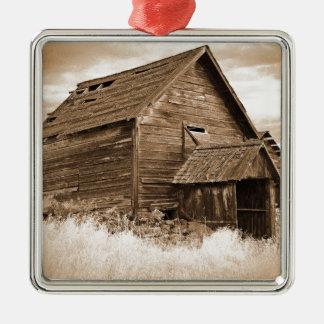 食糧貯蔵の建物(セピア色) メタルオーナメント