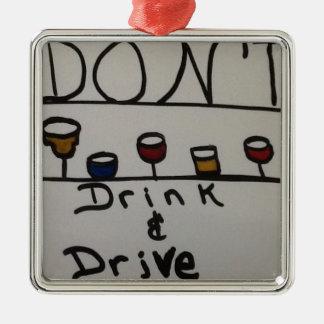 飲まないし、運転しないで下さい メタルオーナメント