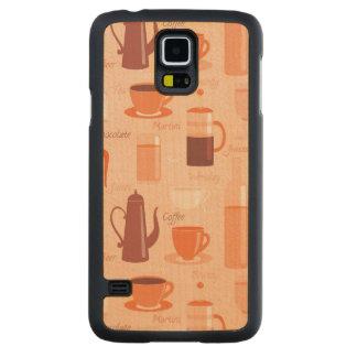 飲み物および文字が付いているパターン CarvedメープルGalaxy S5スリムケース