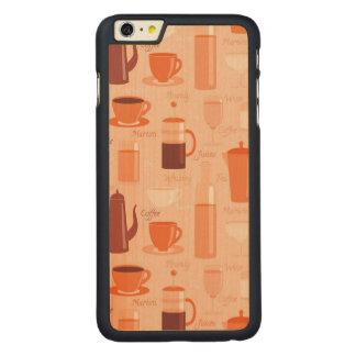 飲み物および文字が付いているパターン CarvedメープルiPhone 6 PLUS スリムケース