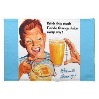 飲み物のオレンジジュースの布のナプキン ランチョンマット