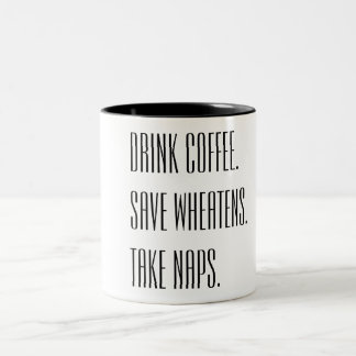 飲み物のコーヒー保存Wheatensは昼寝を取ります ツートーンマグカップ