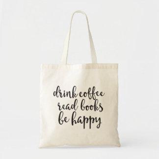 飲み物のコーヒー読書の本は幸せなトートバックです トートバッグ