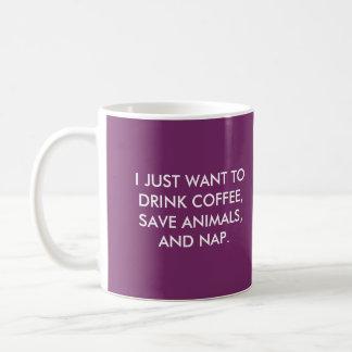 飲み物のコーヒー、保存動物および昼寝のコーヒー・マグ コーヒーマグカップ